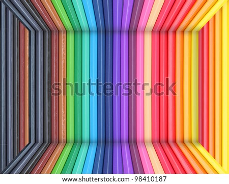 A room made from color pencils - stock photo