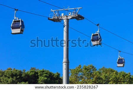 a ropeway on a background of blue sky - stock photo