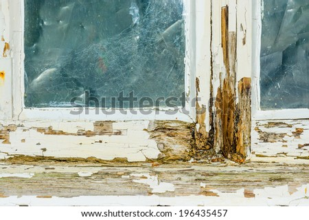 A rotten window frame - stock photo