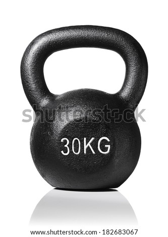 A rough and tough heavy 30 kg 66 lbs cast iron kettlebell isolated on white with natural reflection. - stock photo