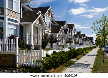 A row a new townhouses in Richmond, British Columbia - stock photo