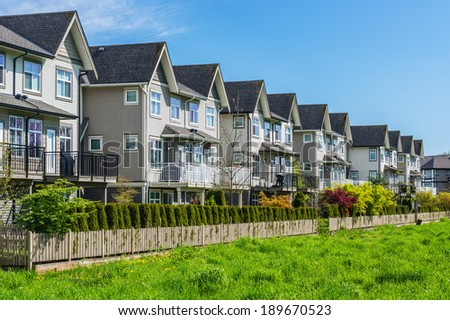 A row of a new townhouses in British Columbia, Canada - stock photo