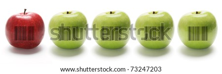 A Row of Apples on Isolated White Background - stock photo
