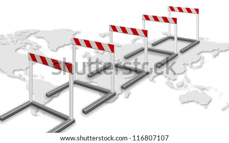A row of barriers and map of world on the white background / Path to success - stock photo