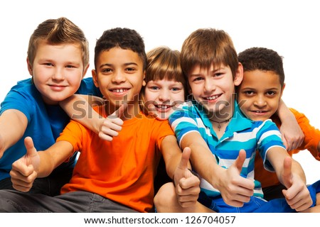 A row of five happy diversity kids boys and girls isolated on white - stock photo