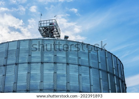 A row of granaries for storing wheat and other cereal grains  - stock photo