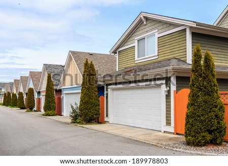 A row of modern houses in British Columbia, Canada - stock photo