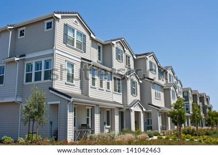 A row of new townhomes / condominiums near San Jose, California. - stock photo