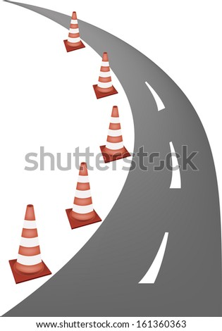 A Row of Orange and White Safety Road Cones or Traffic Cones on A Road for Traffic Redirection or Warning of Hazards or Dangers. - stock photo