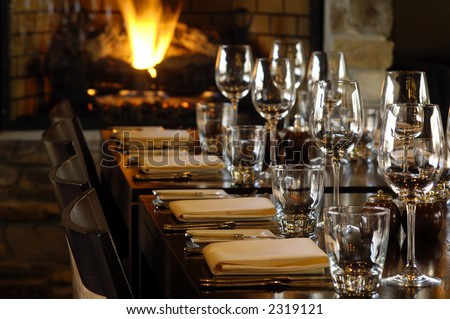 a row of tables at a fine restaurant - stock photo