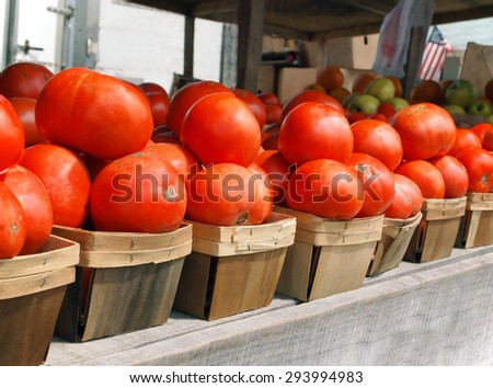 A row of vibrant red, juicy, farm fresh tomatoes for sale in little wooden baskets at a local farmer's market.  - stock photo