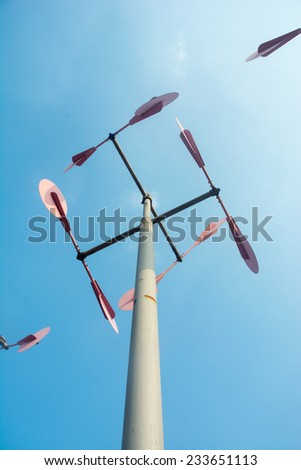 A row of wind measurement instrument - stock photo