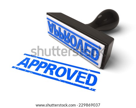A rubber stamp with APPROVED in blue ink. 3d image. Isolated white background. - stock photo
