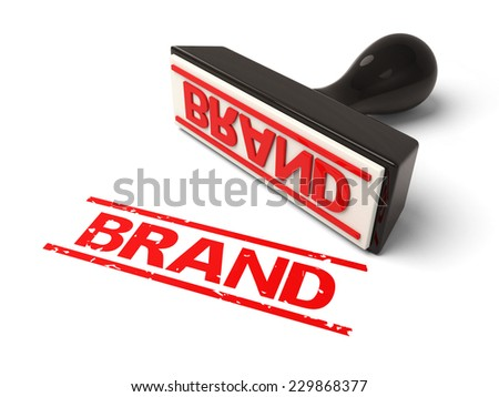 A rubber stamp with brand in red ink. 3d image. Isolated white background. - stock photo