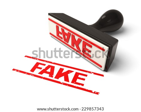 A rubber stamp with  fake in red ink.3d image. Isolated white background. - stock photo