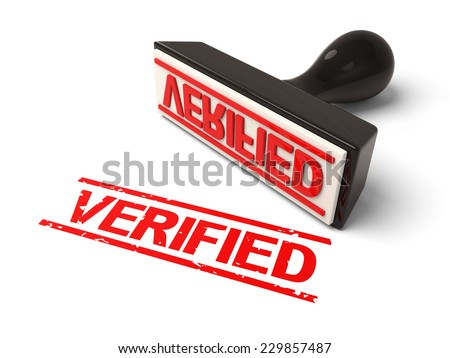 A rubber stamp with verification in red ink.3d image. Isolated white background. - stock photo