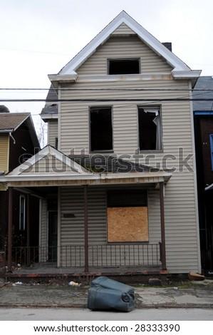 A rundown empty house in Braddock, Pennsylvania, a poster town of urban decay - stock photo