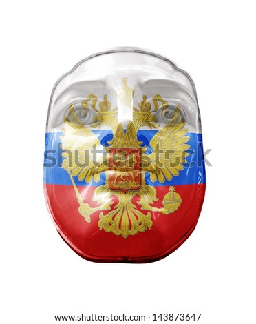 A Russia flag on a face, isolated against white.  - stock photo