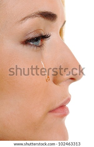 a sad woman weeps tears. icon photo fear, violence, depression - stock photo