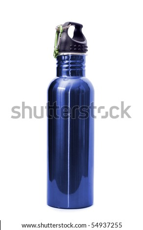 A safe, reusable, blue, stainless steel water bottle isolated on white background. - stock photo