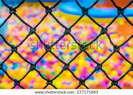A safety net in indoor playground room - stock photo