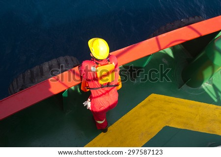 A sailor on a supply vessel - stock photo