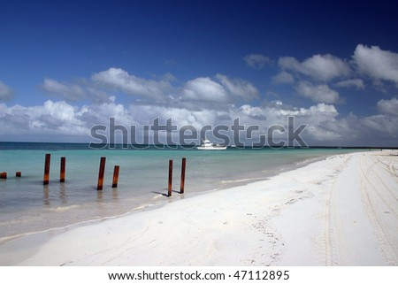 A sand beach of small island in Varadero,Cuba. - stock photo