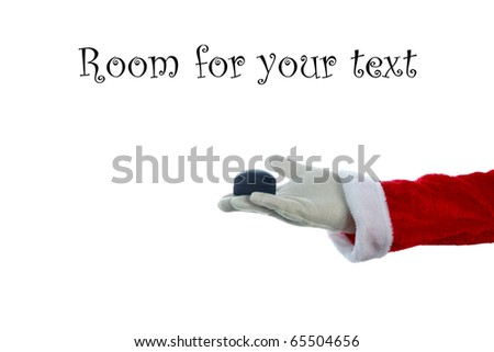 A Santa Claus arm holds a Diamond Ring in a Ring Box isolated on white with room for your text or images - stock photo
