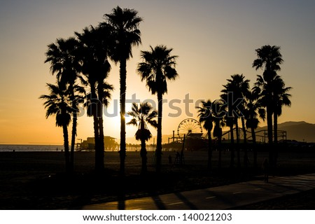 A Santa Monica sunset on a warm day in Los Angeles, California, USA - stock photo