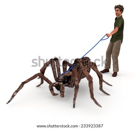 A satirical illustration depicting a man walking a giant wolf spider in that same matter as people walk their dogs. - stock photo