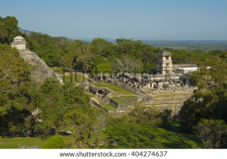 A scape of the Mayan archaeological site of Palenque, Mexico.  - stock photo