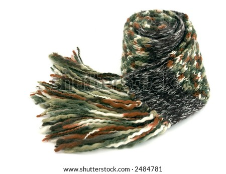 A scarf made of woolen cloth, very warm and colorful. - stock photo