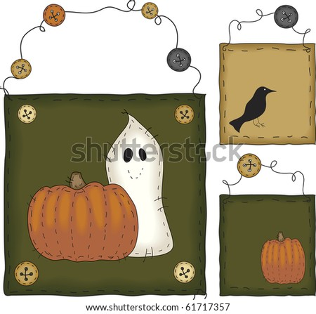 a scary ghost and his crow-nie - stock photo