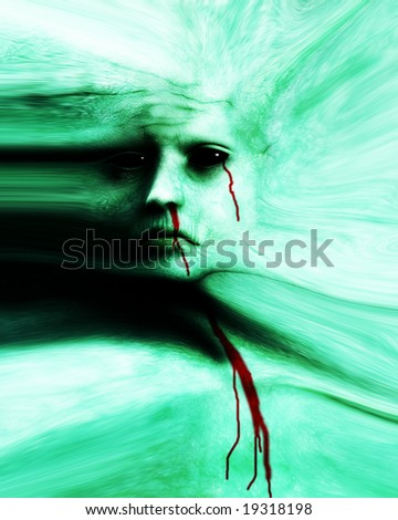 A scary Halloween face on stretched skin. - stock photo