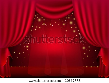 A scene with a red curtain and festive illuminations, background. Raster copy of vector image - stock photo