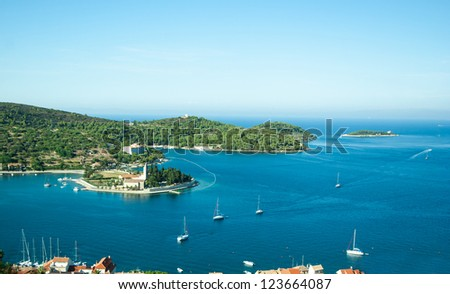 A scenic bay of Vis island in Croatia - stock photo