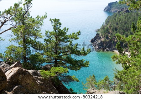 A scenic landscape at the Baikal lake in Siberia, Russia. - stock photo