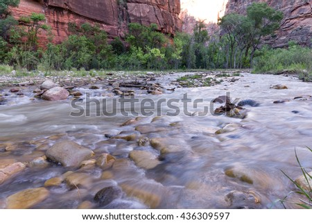 A scenic view of from River Side Walk trail, Zion National Park - stock photo