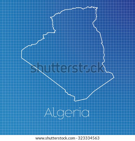 A Schematic outline of the country of Algeria - stock photo