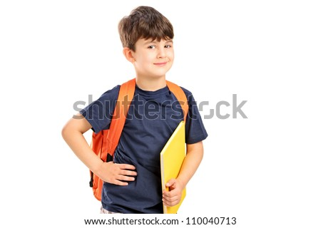 A school boy with backpack holding a notebook isolated against white background - stock photo