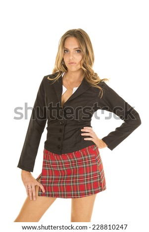 A school girl with a sensual expression on her face. - stock photo