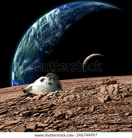 A scorched space capsule lies abandoned on a barren moon. A sister moon and Earth-like planet rise in the background. - Elements of this image furnished by NASA. - stock photo