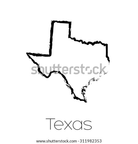 A Scribbled shape of the State of Texas - stock photo