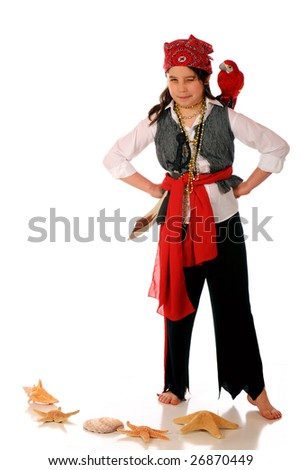 A scrutinizing pirate girl with a parrot on her shoulder.  Isolated on white. - stock photo