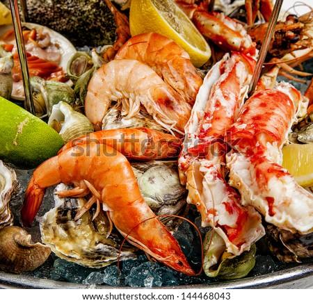 A seafood mix - stock photo
