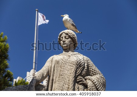 a seagull on the head of a statue in front of Princes Palace of Monaco in Monte Carlo, Cote D'Azur - stock photo