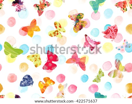 A seamless background pattern with pastel watercolor dots and bright textured butterflies - stock photo