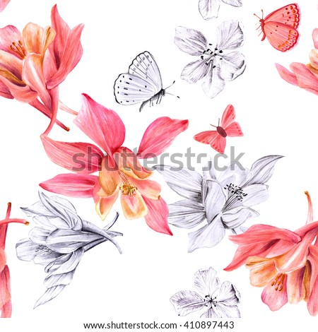 A seamless background pattern with watercolor drawings and pencil sketches of blooming fuchsia flowers and butterflies - stock photo