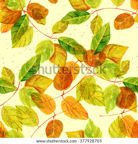 A seamless background pattern with watercolor green and golden yellow leaves, toned - stock photo