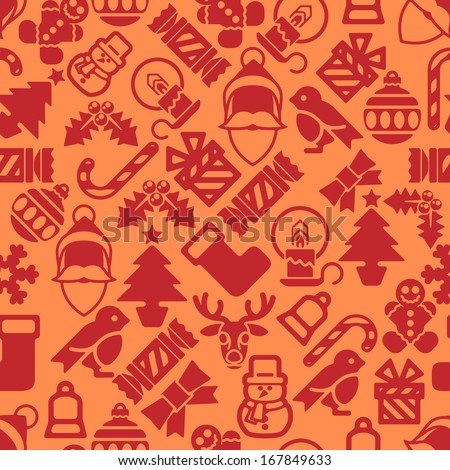 A seamless modern Christmas background pattern design with Santa robin, snowman, snowflakes, gifts and other Christmas items. - stock photo